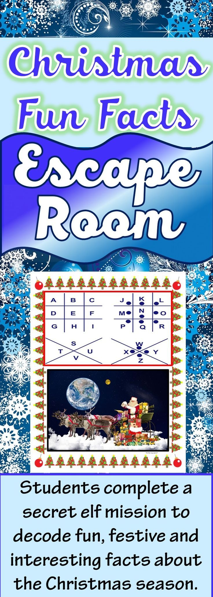 The Christmas Fun Facts Escape Room will take students on a secret mission around the classroom! This escape room has students decode fun and interesting facts about the Christmas holiday season. This is the perfect resource for December fun! Facts include: The tallest Christmas tree, the number of LEGO products sold per second, the number of Christmas cards sent, the largest snowman, Christmas song facts etc.