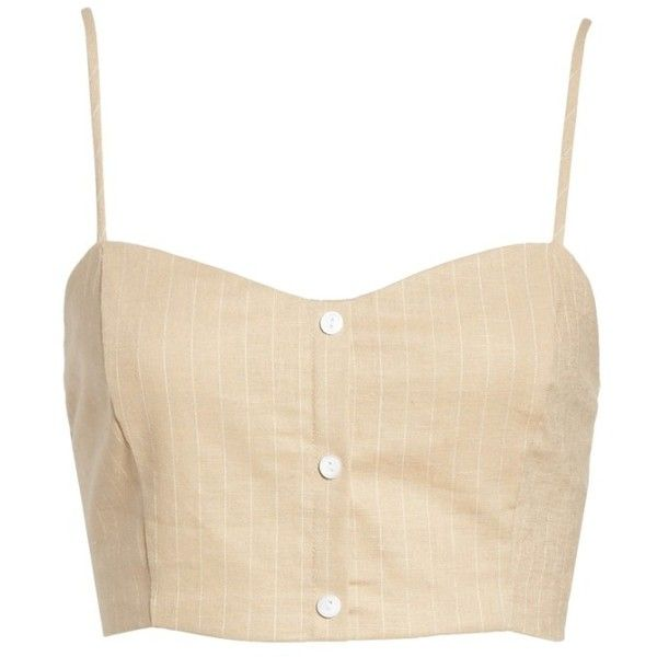 Women's Leith Crop Tank (2,300 PHP) ❤ liked on Polyvore featuring tops, beige sand stripe, beige crop top, beige top, cropped tank top, striped crop top and stripe top