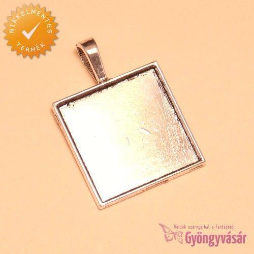Ezüstszínű, 25 mm-es négyzet - medál alap • Gyöngyvásár.hu