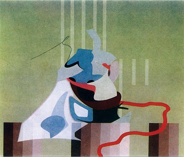 """""""Costruttore"""" acrilici su tela, cm 50x60, 1975"""