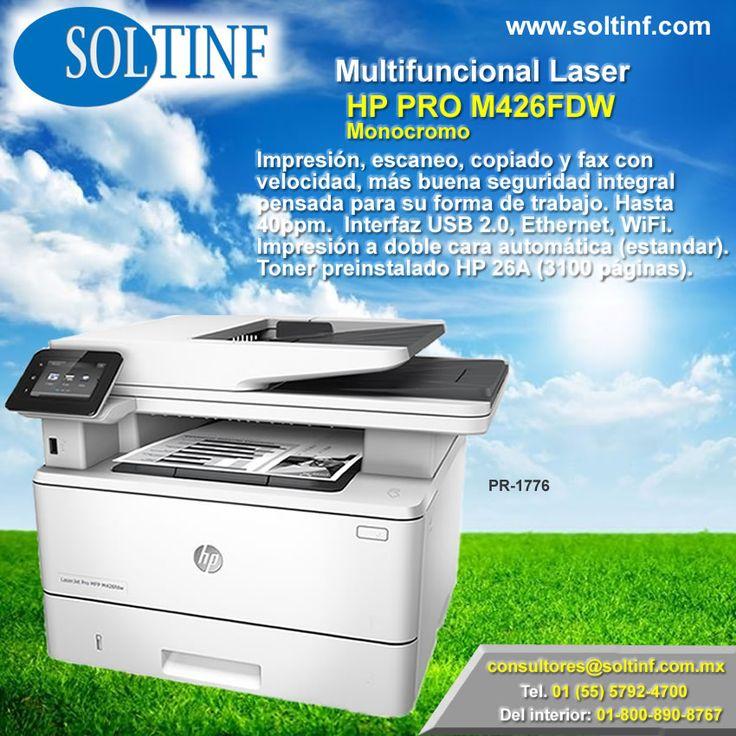 #Multifuncional #Laser HP PRO M426FDW #Monocromo #Impresión, #escaneo, #copiado y #fax con velocidad, más buena seguridad integral pensada para su forma de trabajo. Hasta 40ppm.  Interfaz USB 2.0, Ethernet, WiFi. Impresión a doble cara automática (estandar). #Toner preinstalado HP 26A (3100 páginas).  NUESTRA TIENDA EN LINEA: https://www.soltinf.com/