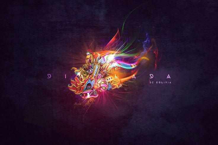 digital art, lighting, Diablada de Bolivia, La mascara de la Diablada boliviana, hecha wallpaper, pueden bajarlo del link adjunto