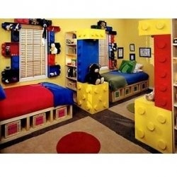 Wouldn`t it be a great idea to design and create a Lego Bedroom for your kids, whom are Lego Fans they will just adore this great idea you have...