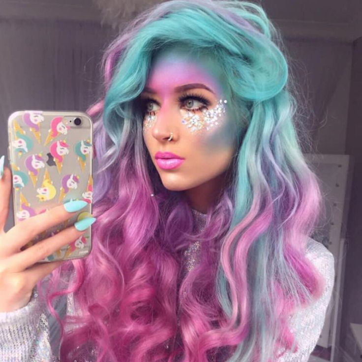 """Vegan + Cruelty-Free Color on Instagram: """"A beautiful selfie of this unicorn babe  @amythemermaidx Colors Used: Aquamarine, Virgin Pink, and Violet Dream  • Don't forget it's…"""""""