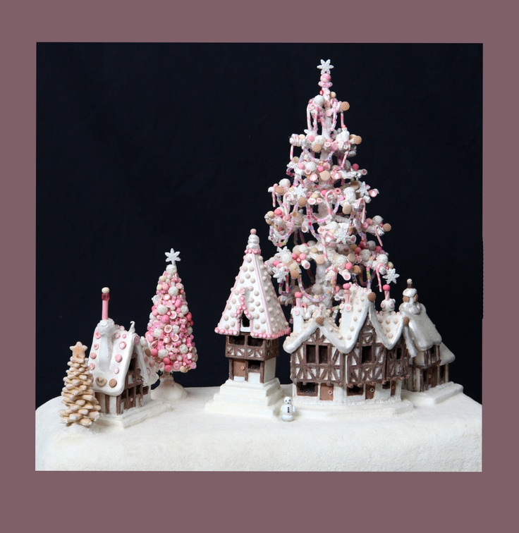 Polymer Clay Christmas Village.Chocolate Shop Display Christmas Glitter Villages