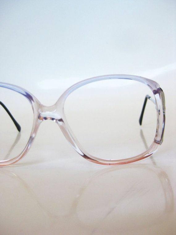 Vintage 1970s Eyeglasses Oversized Clear Pastel Blue Pink Ladies Womens Sunglasses Avant Garde Light Geek Chic Ladies 70s