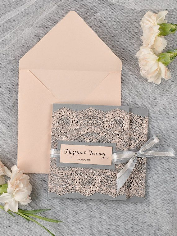 Grey and Peach Lace Wedding Invitation, Pocket Fold Wedding Invitations , Vintage Wedding invitation on Etsy, $5.98 AUD