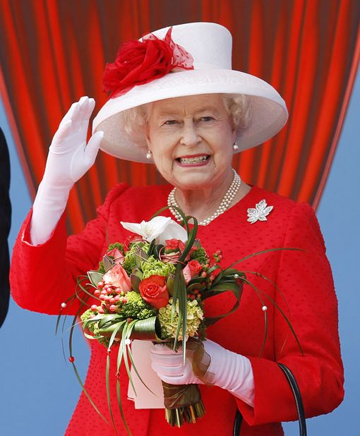 Her Majesty in red