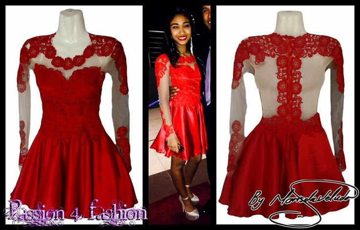 Short red lace evening dress for a 21st birthday with an illusion back , sleeves and neckline detailed with lace. #mariselaveludo #fashion #eveningwear #lace #passion4fashion #21stdress #redshortlacedress #red #shortdress