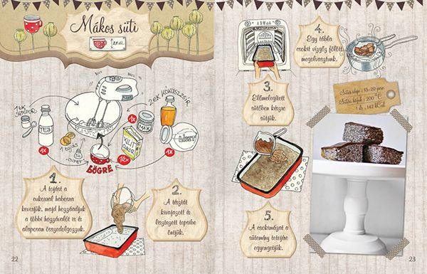 Dalocska's bakery – Illustrated recipe book on Behance Poppy seed Cake #recipe #illustrated #illustration