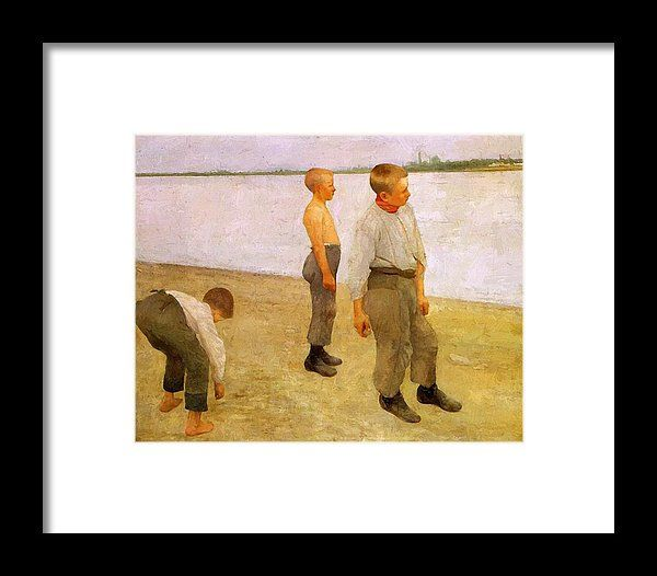 Boys Framed Print featuring the painting Boys Throwing Pebbles Into The River 1890 by Ferenczy Karoly