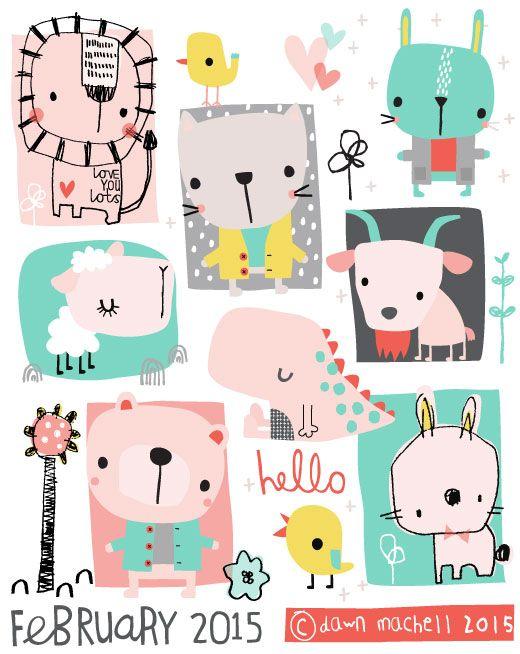 Hermosas ilustraciones de animalitos en colores pasteles :)