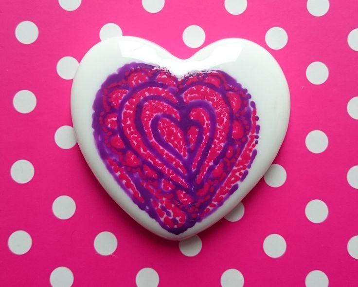 Little Hearts #11: handpainted art on a little white heart by TheBigLittleArtShop on Etsy
