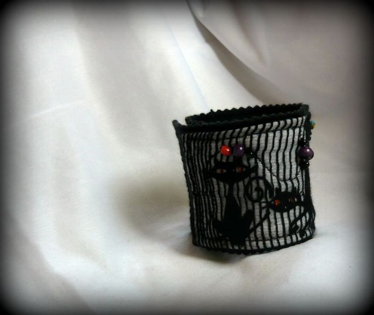 Handmade by Judy Majoros - Cats Fabric beaded bracelet -cuff, Recycled bracelet
