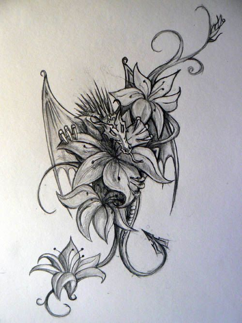 Dragon Tattoo With Flowers: Love The Design But I'm Not Crazy About The Sharp Spikes