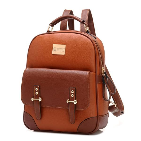 British Preppy Retro Brown Leather School Backpacks - lilyby