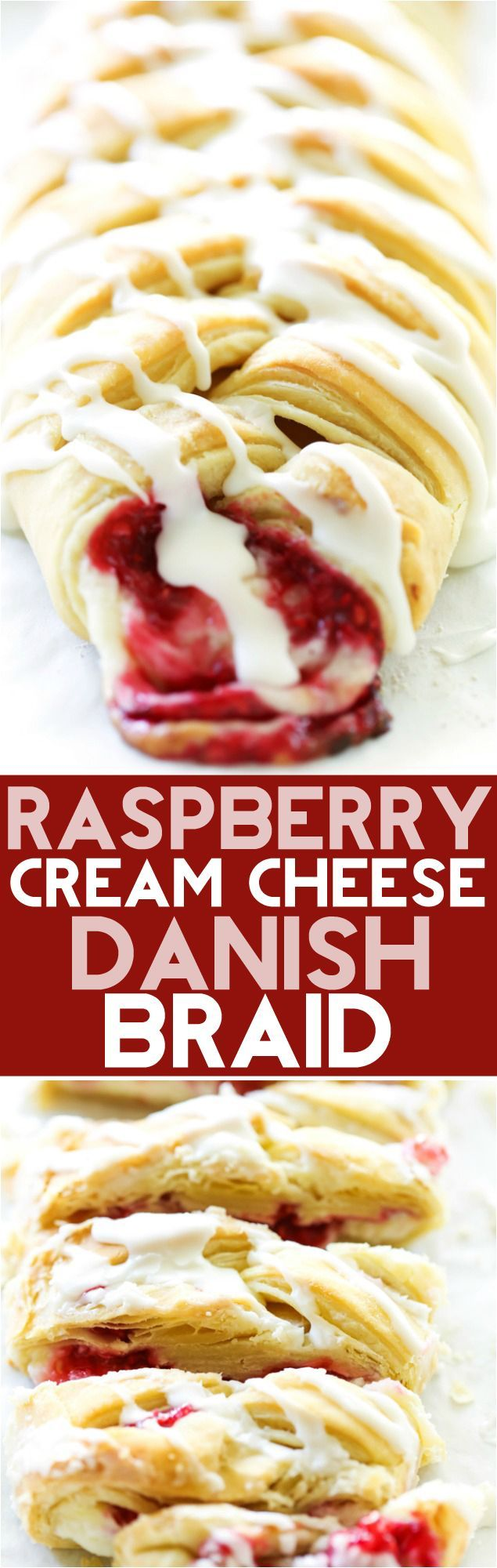 This Raspberry Cream Cheese Danish Braid is SO simple and tastes incredible! The puff pastry just melts in your mouth and is perfectly paired with a cream cheese filling and a delicious raspberry sauce.
