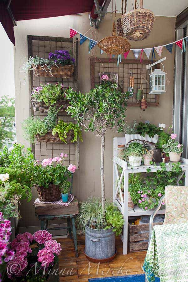 Balcony Garden Design contemporary small balcony garden design with vase plants and flowers Balcony Garden Design Ideas