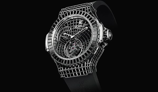 The Black Caviar Bang from Hublot has the case, crown dial and clasp encrusted in baguette-cut black diamonds. The watch has 544 diamonds, with a total of 34.5 carats and it has no numbers on its dial. It has an adjustable leather strap and last year it won the Grand Prix de Geneve Jewelry Watch prize. $1,000,000.00