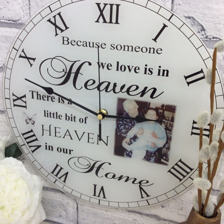 Because someone we love is in heaven Personalised acrylic photo clocks