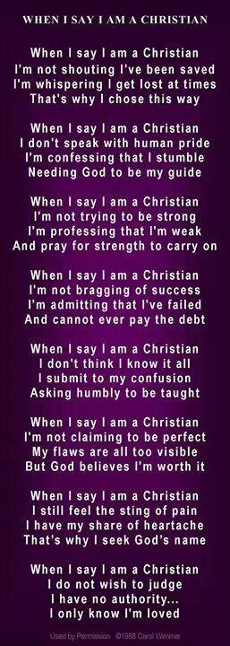 When I say I am a Christian