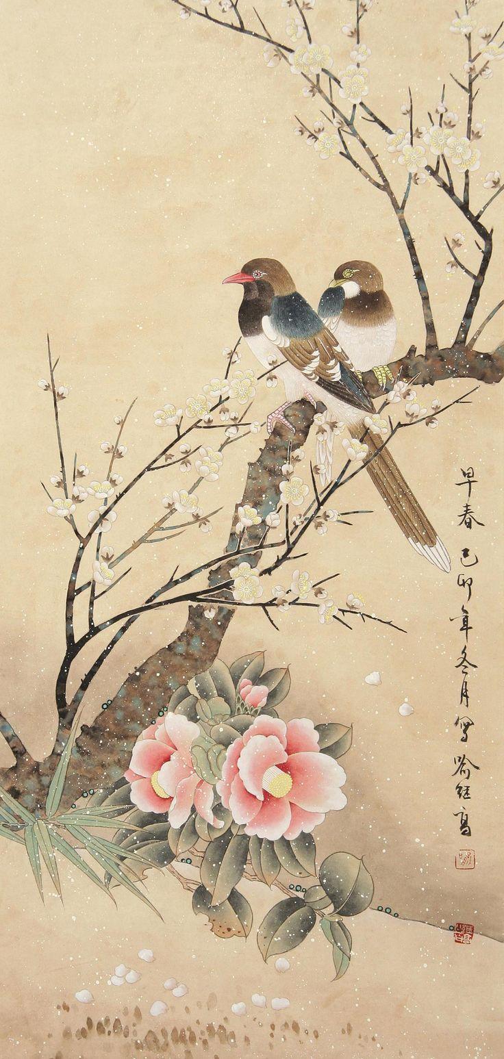 当代画家喻继高工笔花鸟作品