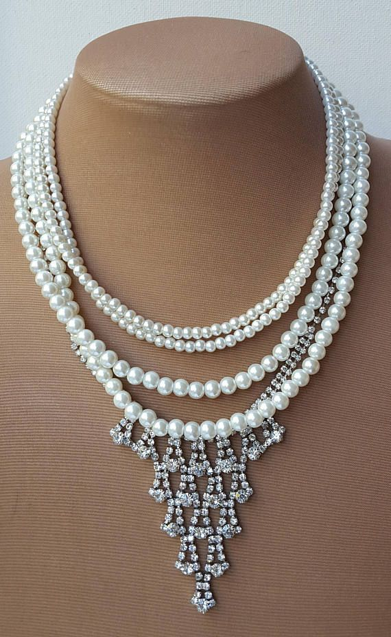 Check out this item in my Etsy shop https://www.etsy.com/ca/listing/552453374/4-strand-pearl-rhinestone-necklacepearl