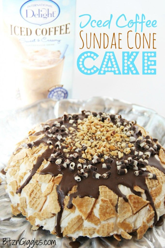 Iced Coffee Sundae Cone Cake - Bitz & Giggles: Desserts Yumm, Coffee Sundaes, Cones Cakes, Desserts Ideas, Ice Coffee, Ice Cream, Sundaes Cones, Iced Coffee, Yummy Sundaes