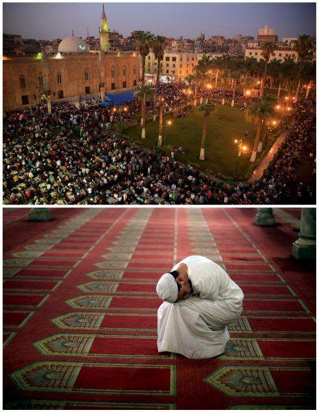 Nach Einbruch der Dunkelheit begehen Menschen in Kairo das Fastenbrechen - in großer Runde und unter freiem Himmel vor der Hussein-Moschee. Tagsüber dürfen die Gläubigen weder essen noch trinken oder rauchen.  Unten: Ein Muslim beim Abendgebet in der ägyptischen Hauptstadt. In den meisten islamischen Ländern war Donnerstag der letzte Fastentag.