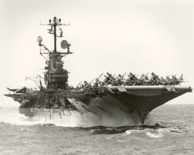 U.S Navy Aircraft Carrier USS Intrepid (CVA-11) was primarily designed as an anti-submarine warfare support carrier; it also functioned as an attack carrier in support of the Seventh Fleet operations in Vietnam, October 9, 1966.