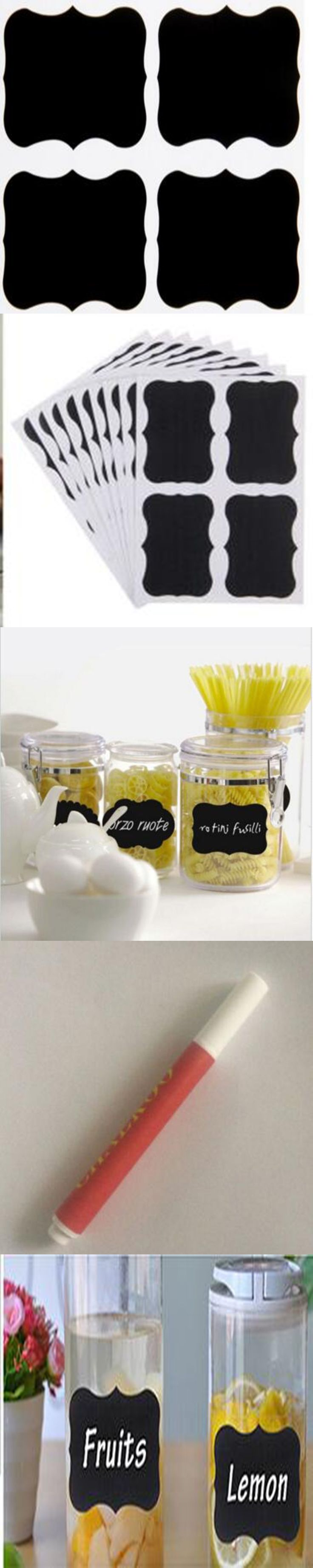 Chalkboard Label Sticker self-adhesive chalkboard label with 1 liquid chalk pen for Jars and Glass decoration