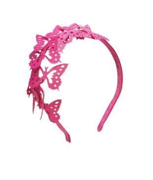 Bincha en base metalica, elaborada en cinta 100% polyester, diseño de mariposas.