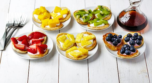 Mini Pancake Rainbow Brunch...Fruit topped pancakes...would be tasty on sugar cookies topped with either whipped cream or cream cheese icing...YUM! Refreshing!
