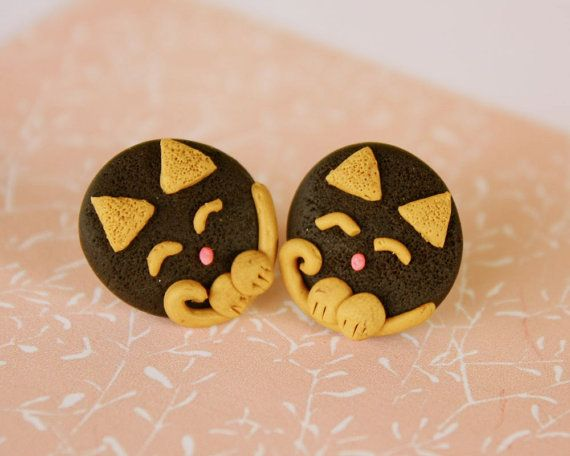 Tinky cat post earrings chocolate and beige combo by TinkyPinky