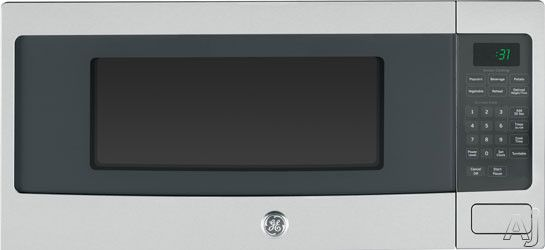 GE PEM31DF 1.1 cu. ft. Countertop Microwave Oven with 800 Watts, 10 Power Levels, Sensor Cooking Controls, Glass Turntable, Optional Hanging Kit and Control Lockout
