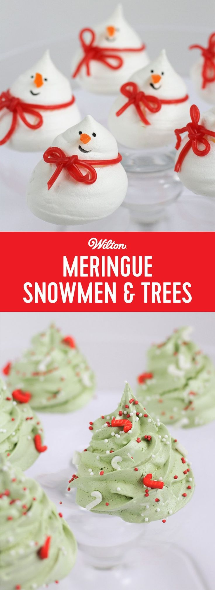 Meringue Snowmen and Trees - Why not decorate your Christmas Cake with these little cute snowmen and tree meringues? You could also package them up for some beautiful festive gifts! Get the little ones involved! They would love to decorate the trees with sprinkles and paint some funny expressions on the snowman's faces. #christmas #meringues #snowman #wiltoncakes