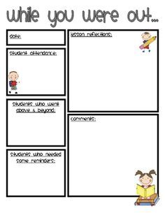 SUBSTITUTE BUSINESS CARDS | Substitute teaching ideas