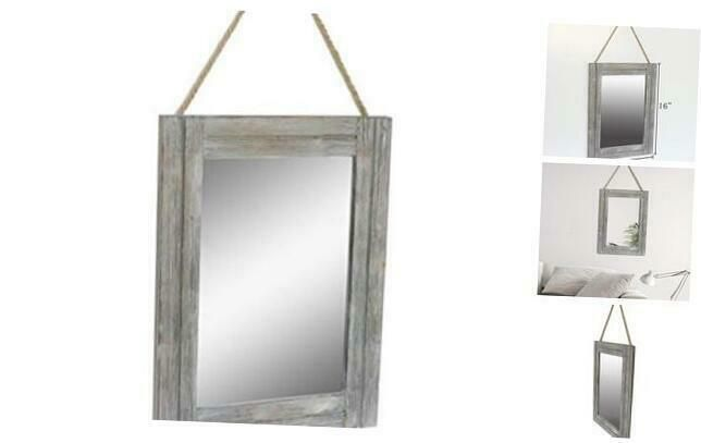 Emaison 16 X 12 Inch Rustic Wood Framed Wall Mirror With Hanging Rope For Farmho Frames Ebay Link In 2020 Frames On Wall Rustic Wood Frame Framed Mirror Wall