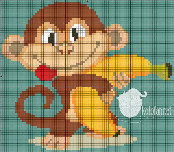 Monkey with banana x-stitch