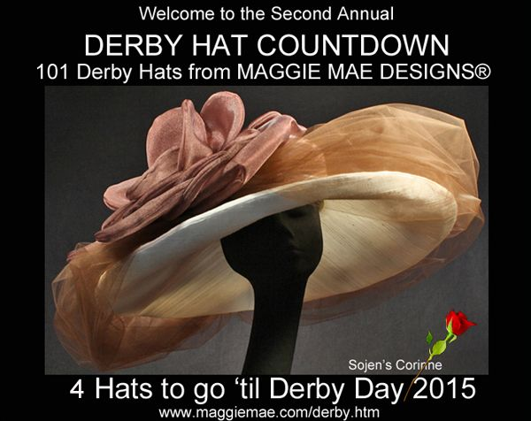 Brimming with luscious chocolate tulle, our Sojen's Corinne leads the way today in our Countdown to Derby! http://wp.me/p30hfe-21A Your Derby Trivia Question for today in the Derby Hat Countdown by MAGGIE MAE DESIGNS® – Affirmed is our last Triple Crown winner in 1978. Name his arch rival in all 3 races. The Answer can be found at http://www.maggiemae.com/derby.htm