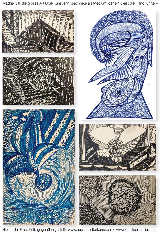 Madge Gill und Ernst Kolb.  Eine Webseite stellt Arbeiten Kolbs aus einer Sammlung Arbeiten vieler  weiterer, ganz unterschiedlicher Aussenseiter-künstler gegenüber, hier ist eine Arbeit Kolbs kombiniert mit abstrakten Karten von Madge Gill, der grossen englischen Art Brut Künstlerin, die sich als Medium erlebte, dem ein Geist die Hand führte. – João Oliveira