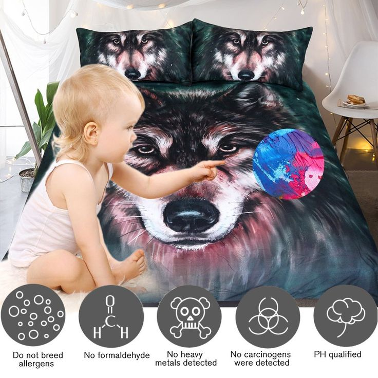 Sleepwish Wolf Bedding Cool Black Wolf Duvet Cover Set 3d