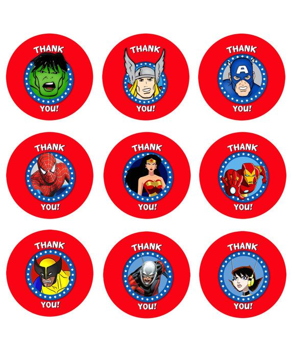 marvel avengers superheroes printable  u0026quot thank you u0026quot  labels   tags on etsy   1 99