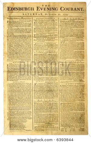 Picture or Photo of Original front page of a Scottish newspaper, dated 1774.