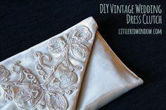 DIY Vintage Wedding Dress Envelope Clutch Tutorial, beautiful and unique way to reuse a sentimental vintage dress! via littleredwindow.com