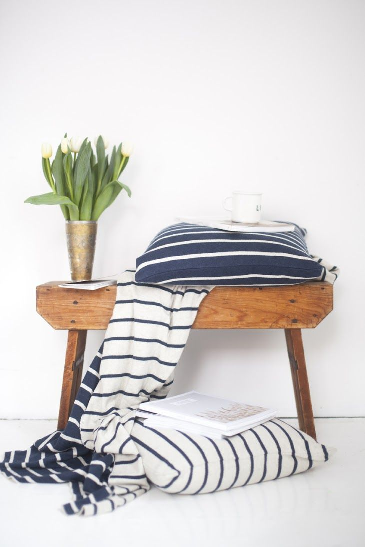 Herman pillow and blanket in a soft cotton knit