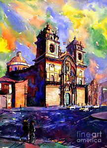 Peru Painting - Watercolor Painting Of Church On The Plaza De Armas Cusco Peru by Ryan Fox