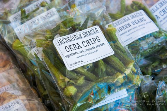 Dehydrated Okra Chips Photo Credit: Michael Moriarty Photography St. Philips Plaza Farmers Market Open Every Sat & Sun Year Round Tucson, Arizona
