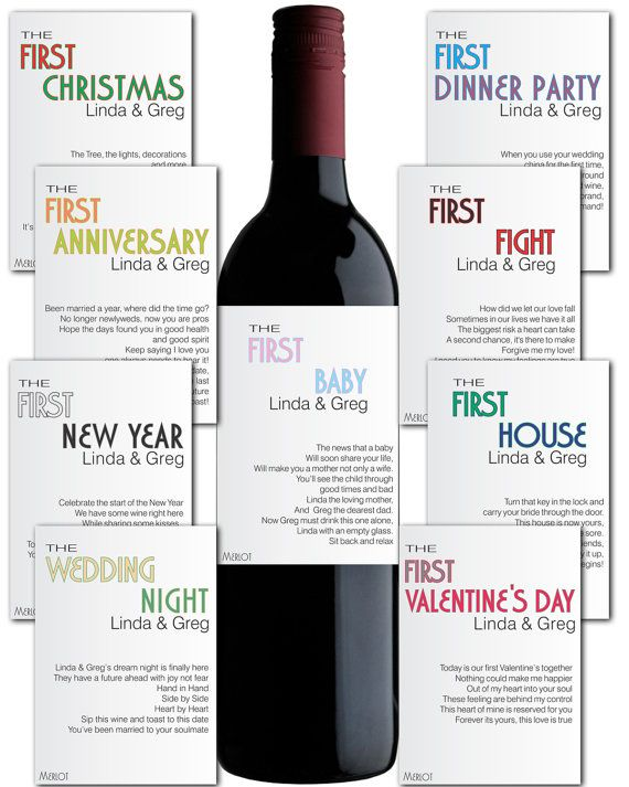 Wine Label 6 pc. Customizable Wedding Gift by AlyaDesignStudio