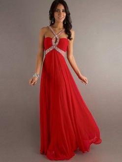 Stylish Chiffon Beaded Halter Sweetheart Dress